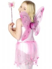 Butterfly Wings And Wand Set In Pink